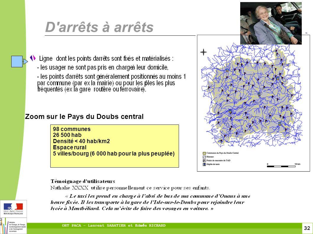 32 ORT PACA – Laurent SABATIER et Edm é e RICHARD 32 D arrêts à arrêts Zoom sur le Pays du Doubs central 98 communes 26 500 hab Densité < 40 hab/km2 Espace rural 5 villes/bourg (6 000 hab pour la plus peuplée)