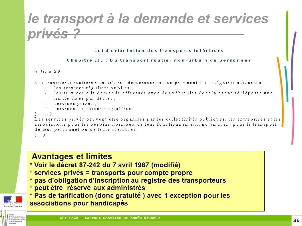36 ORT PACA – Laurent SABATIER et Edm é e RICHARD 36 le transport à la demande et services privés ? Avantages et limites * Voir le décret 87-242 du 7