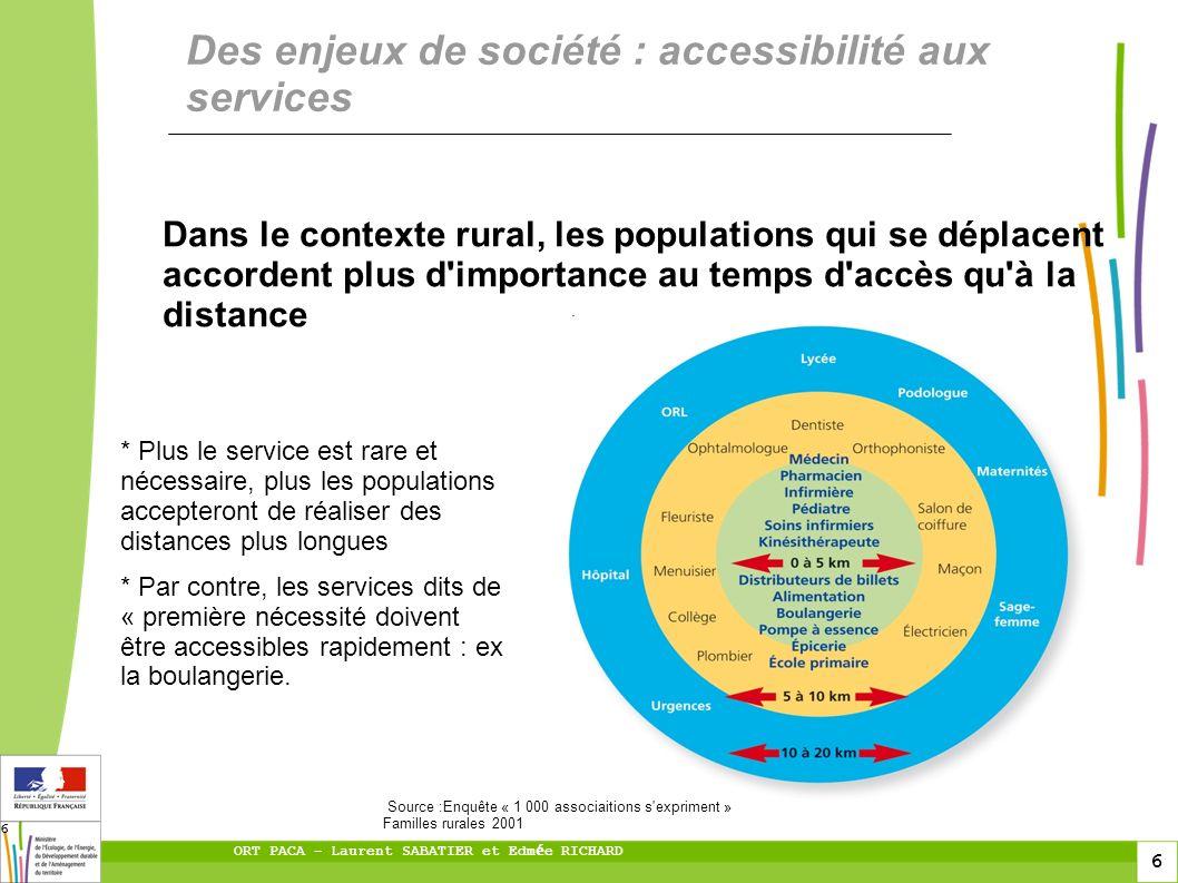 6 ORT PACA – Laurent SABATIER et Edm é e RICHARD 6 Dans le contexte rural, les populations qui se déplacent accordent plus d'importance au temps d'acc