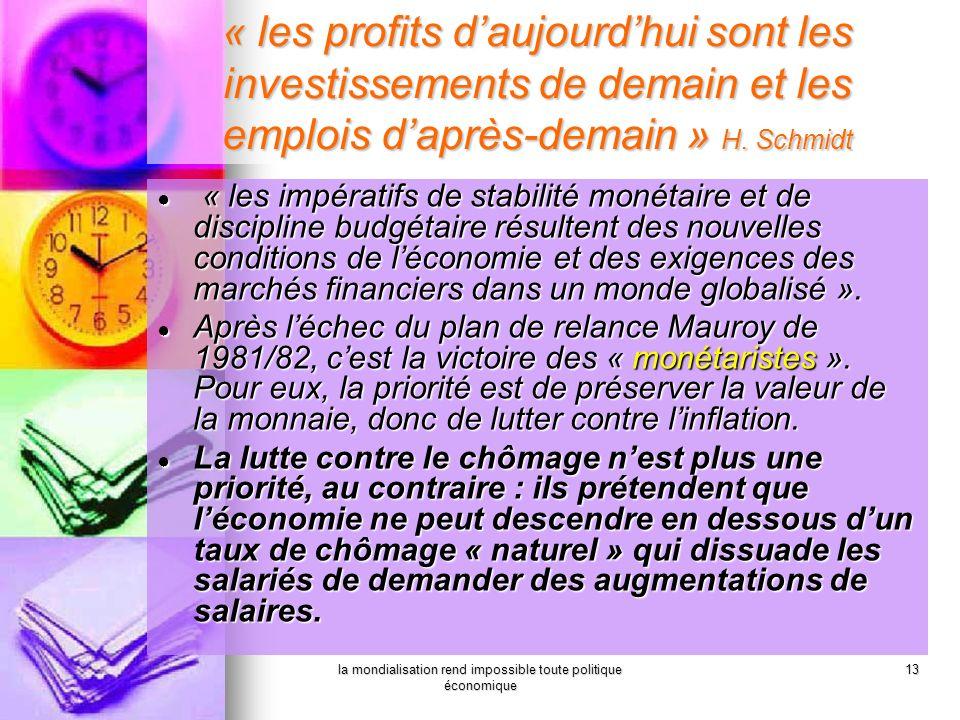 la mondialisation rend impossible toute politique économique 13 « les profits daujourdhui sont les investissements de demain et les emplois daprès-dem