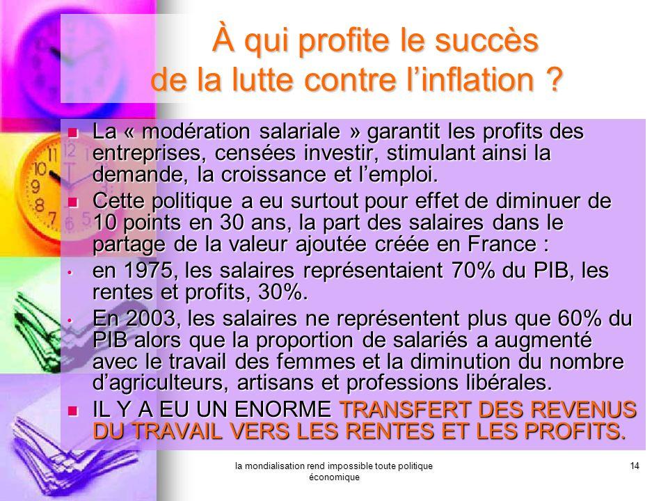 la mondialisation rend impossible toute politique économique 14 La « modération salariale » garantit les profits des entreprises, censées investir, st