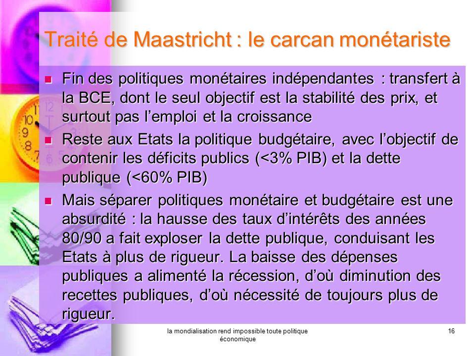 la mondialisation rend impossible toute politique économique 16 Traité de Maastricht : le carcan monétariste Fin des politiques monétaires indépendant