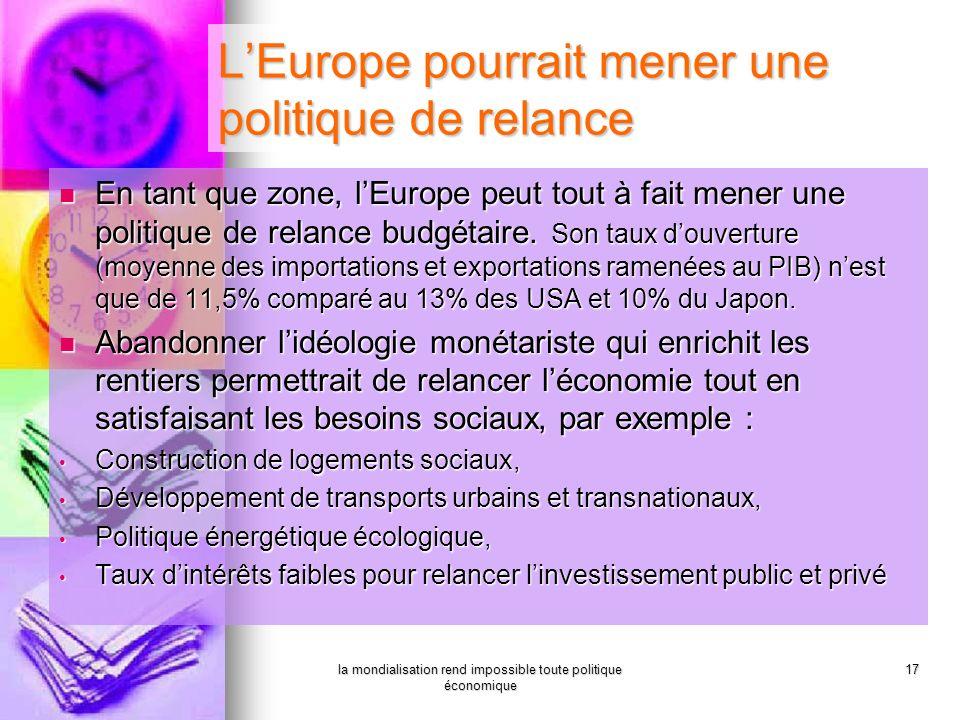 la mondialisation rend impossible toute politique économique 17 LEurope pourrait mener une politique de relance En tant que zone, lEurope peut tout à