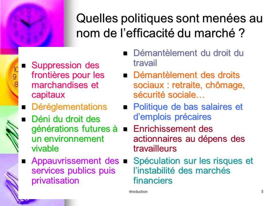 introduction5 Quelles politiques sont menées au nom de lefficacité du marché ? Suppression des frontières pour les marchandises et capitaux Suppressio