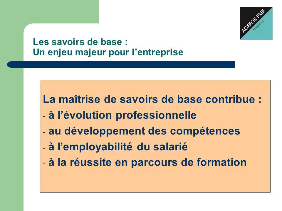 Les savoirs de base : Un enjeu majeur pour lentreprise La maîtrise de savoirs de base contribue : - à lévolution professionnelle - au développement de