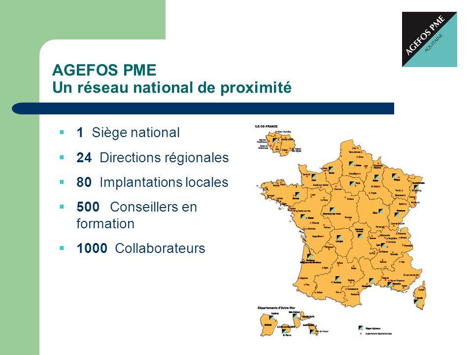 AGEFOS PME Un réseau national de proximité 1 Siège national 24 Directions régionales 80 Implantations locales 500 Conseillers en formation 1000 Collab