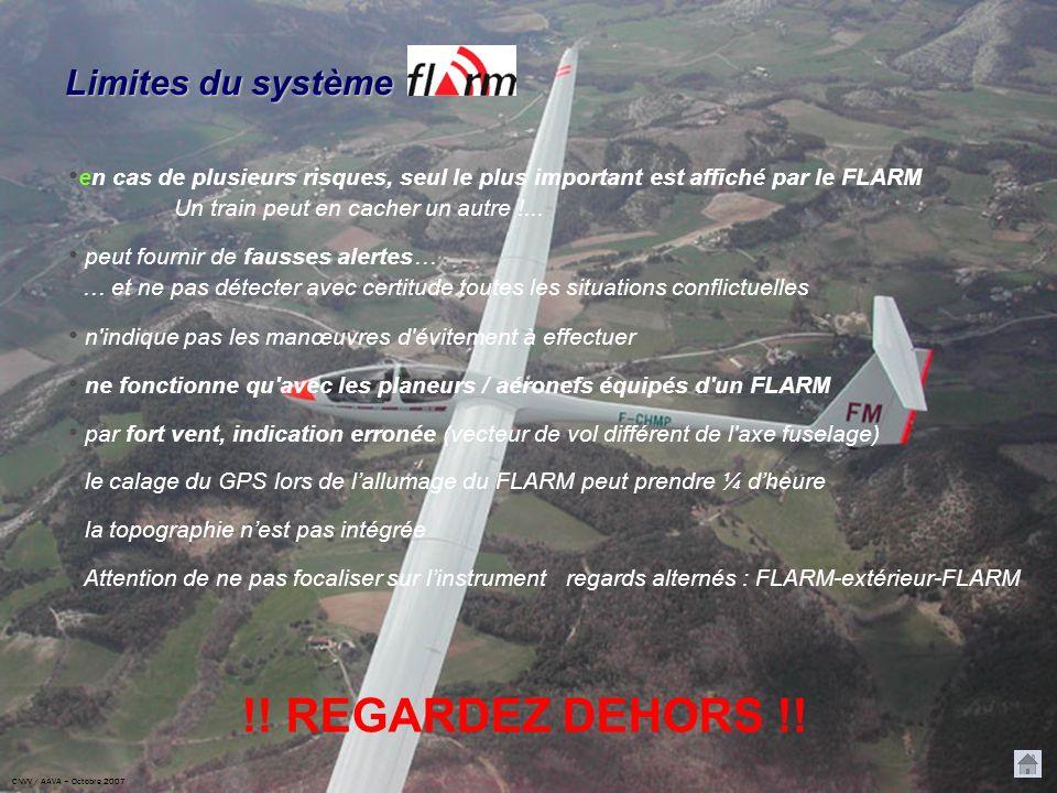 Limites du système en cas de plusieurs risques, seul le plus important est affiché par le FLARM Un train peut en cacher un autre !...