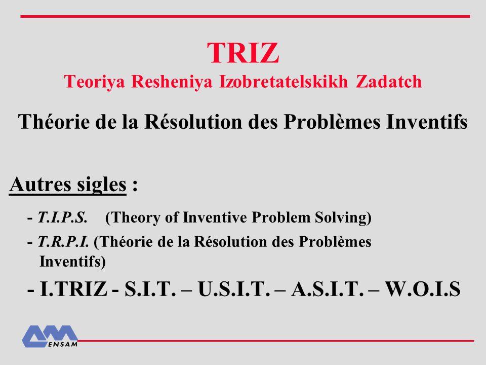 Les lois d évolution des produits : Hypothèse d Altschuller : Les systèmes techniques n évoluent pas au hasard, mais suivant des lois d évolution 8 lois (tendances) Rem : dans la littérature sur TRIZ, on en trouve de nombreuses variantes se déclinant elles-mêmes en de nombreuses lignes d évolution.