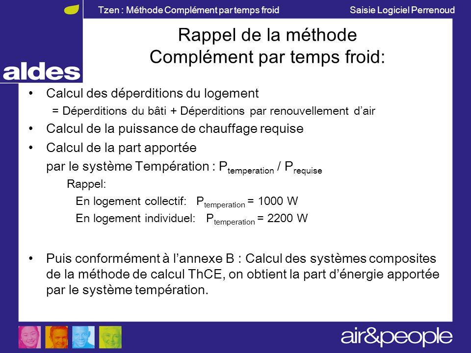 Tzen : Méthode Complément par temps froid Saisie Logiciel Perrenoud Rappel de la méthode Complément par temps froid: Calcul des déperditions du logeme