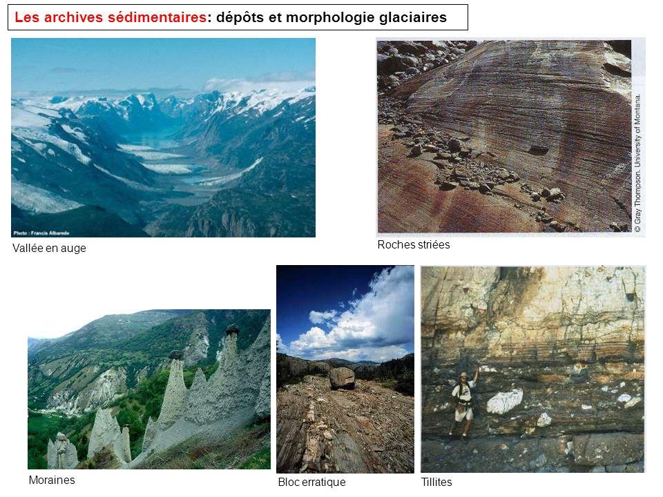Les archives sédimentaires: dépôts et morphologie glaciaires Vallée en auge Roches striées Moraines Bloc erratiqueTillites