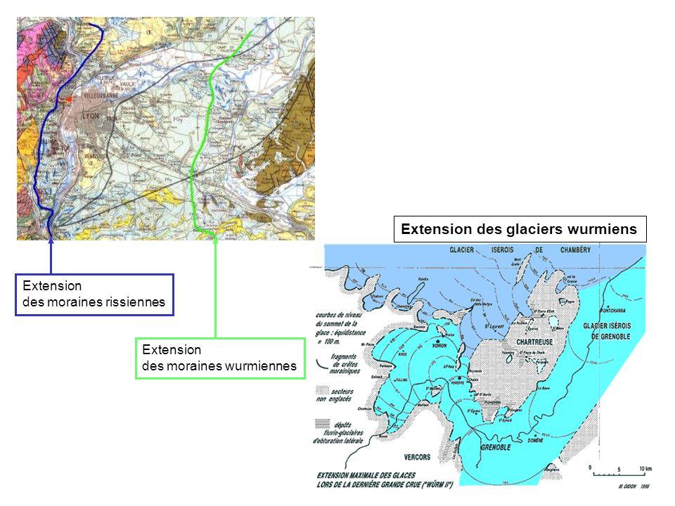 Extension des moraines rissiennes Extension des moraines wurmiennes Extension des glaciers wurmiens