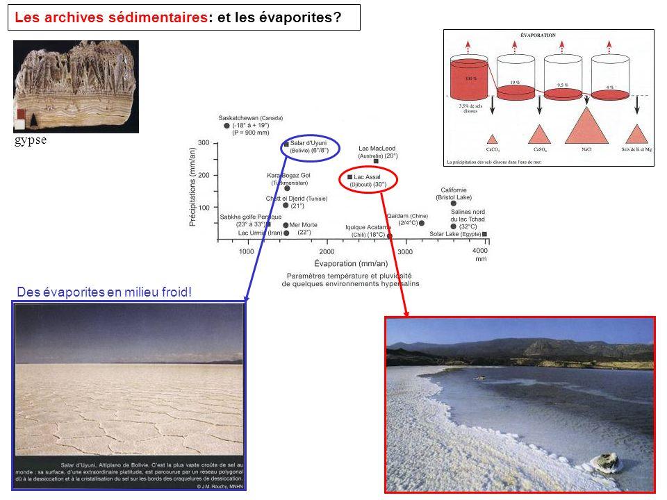 Les archives sédimentaires: et les évaporites? Des évaporites en milieu froid! gypse
