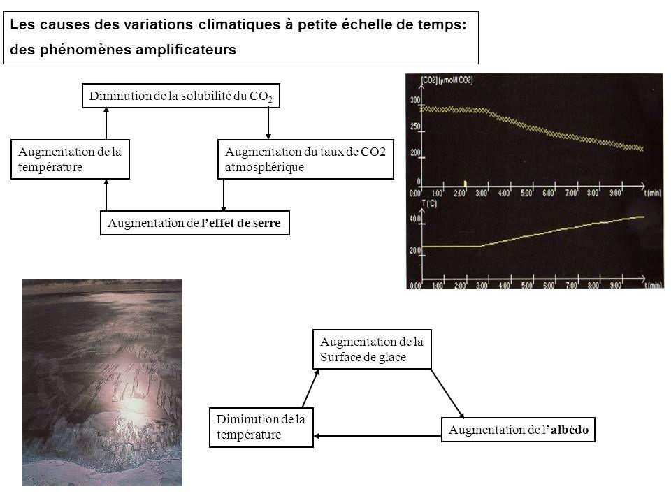 Les causes des variations climatiques à petite échelle de temps: des phénomènes amplificateurs Augmentation de la température Diminution de la solubil