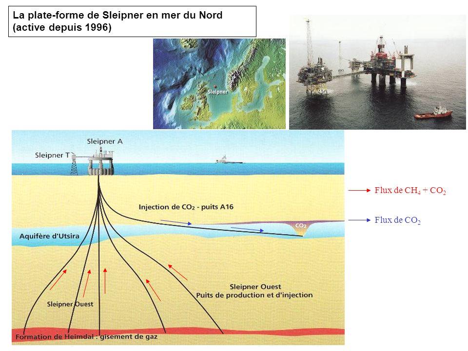 La plate-forme de Sleipner en mer du Nord (active depuis 1996) Flux de CH 4 + CO 2 Flux de CO 2