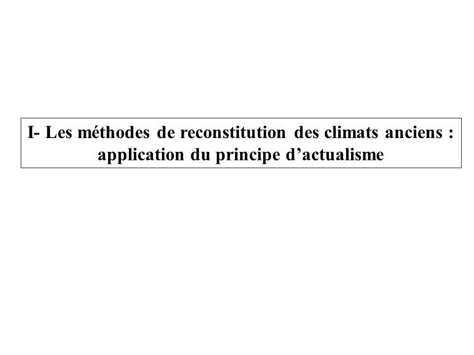 I- Les méthodes de reconstitution des climats anciens : application du principe dactualisme