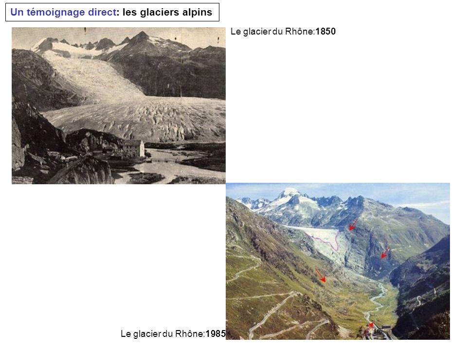 Un témoignage direct: les glaciers alpins Le glacier du Rhône:1850 Le glacier du Rhône:1985