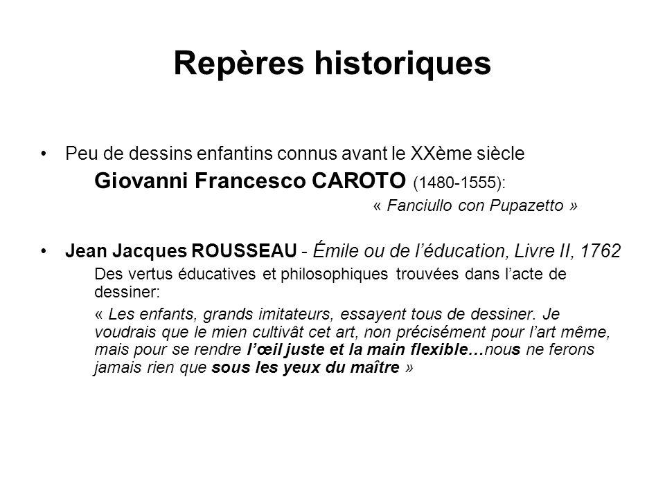Repères historiques Peu de dessins enfantins connus avant le XXème siècle Giovanni Francesco CAROTO (1480-1555): « Fanciullo con Pupazetto » Jean Jacq