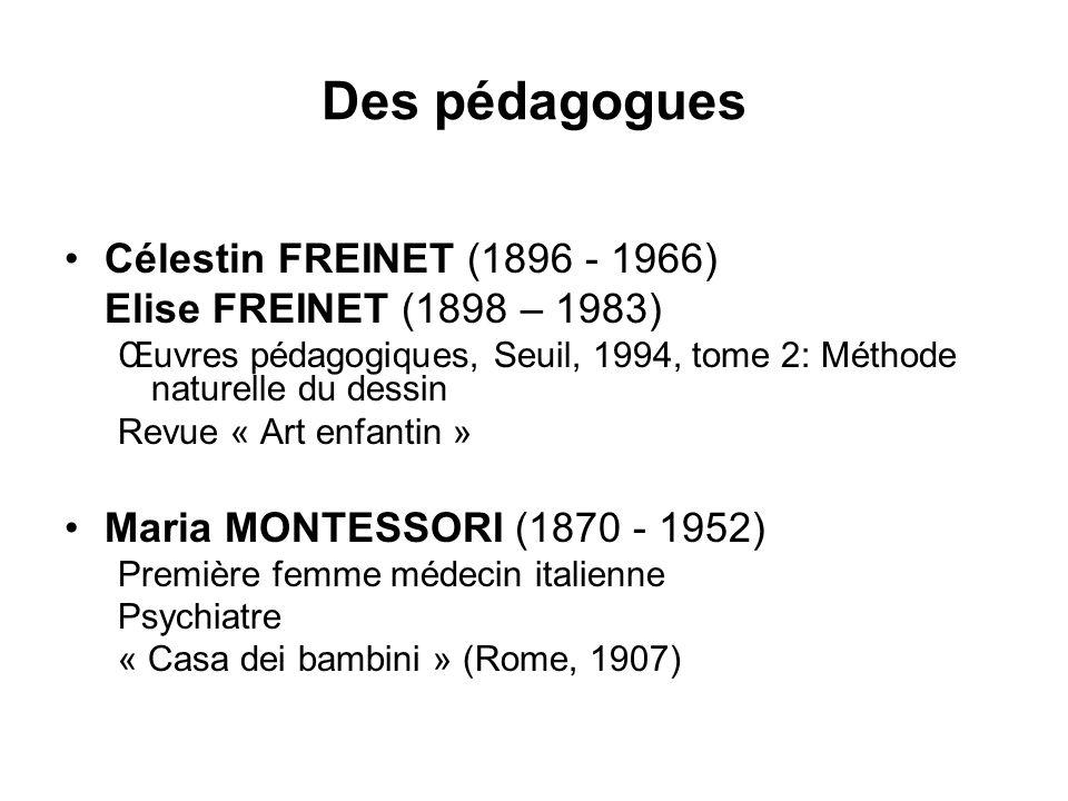 Des pédagogues Célestin FREINET (1896 - 1966) Elise FREINET (1898 – 1983) Œuvres pédagogiques, Seuil, 1994, tome 2: Méthode naturelle du dessin Revue