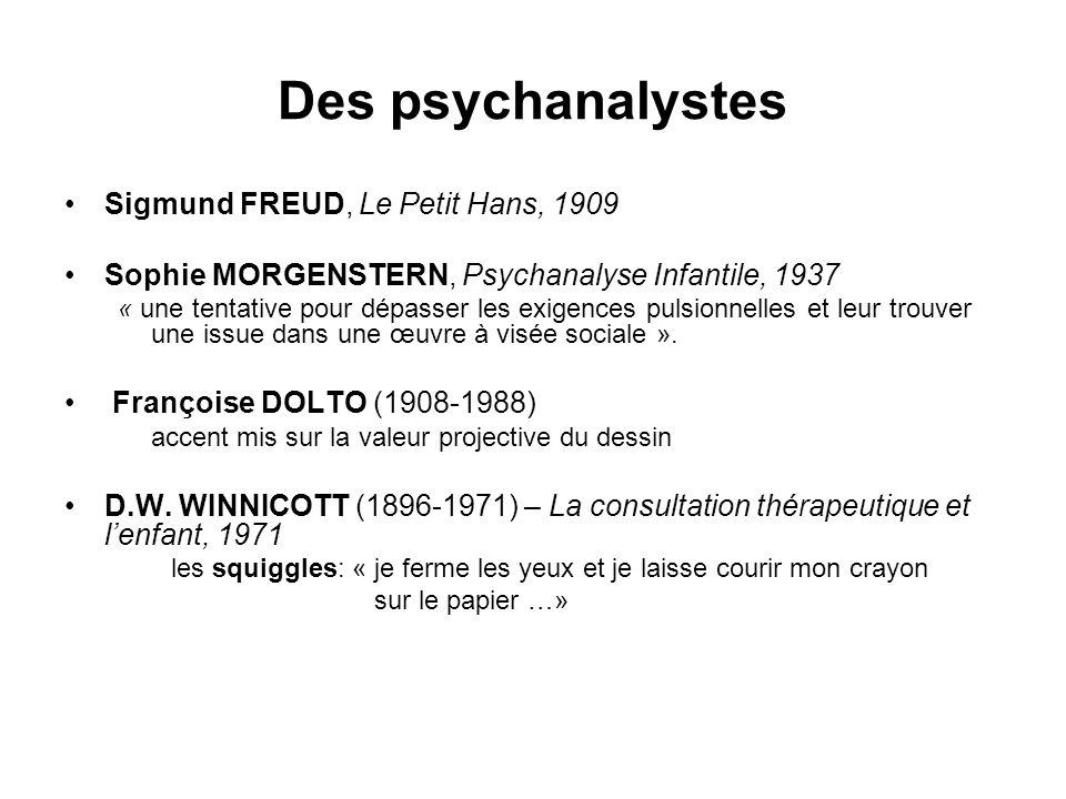 Des psychanalystes Sigmund FREUD, Le Petit Hans, 1909 Sophie MORGENSTERN, Psychanalyse Infantile, 1937 « une tentative pour dépasser les exigences pul