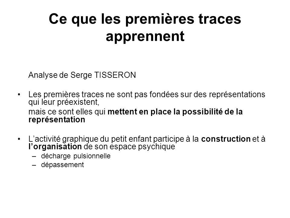 Ce que les premières traces apprennent Analyse de Serge TISSERON Les premières traces ne sont pas fondées sur des représentations qui leur préexistent