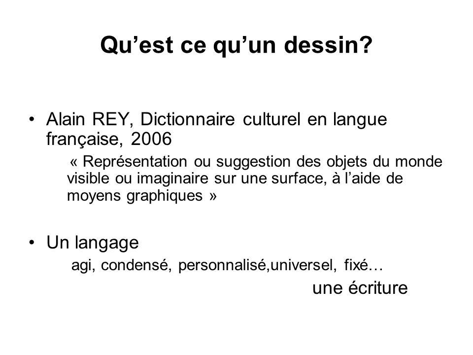 Quest ce quun dessin? Alain REY, Dictionnaire culturel en langue française, 2006 « Représentation ou suggestion des objets du monde visible ou imagina