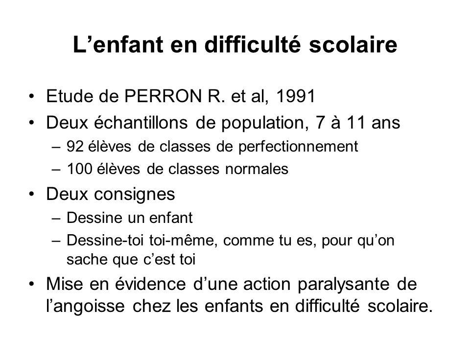 Lenfant en difficulté scolaire Etude de PERRON R. et al, 1991 Deux échantillons de population, 7 à 11 ans –92 élèves de classes de perfectionnement –1