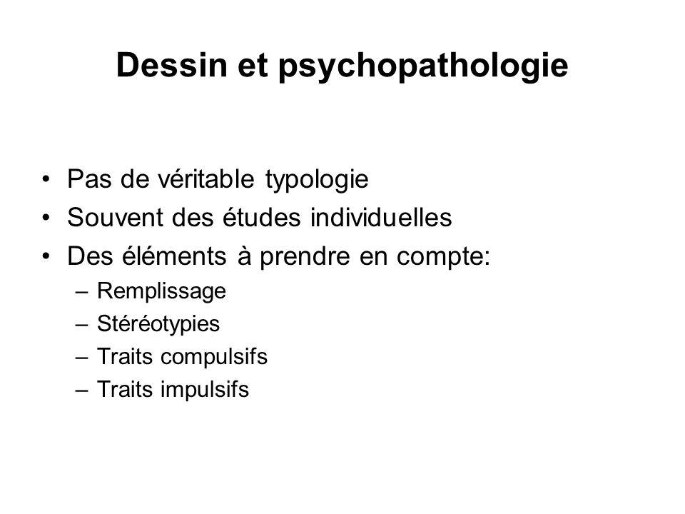 Dessin et psychopathologie Pas de véritable typologie Souvent des études individuelles Des éléments à prendre en compte: –Remplissage –Stéréotypies –T