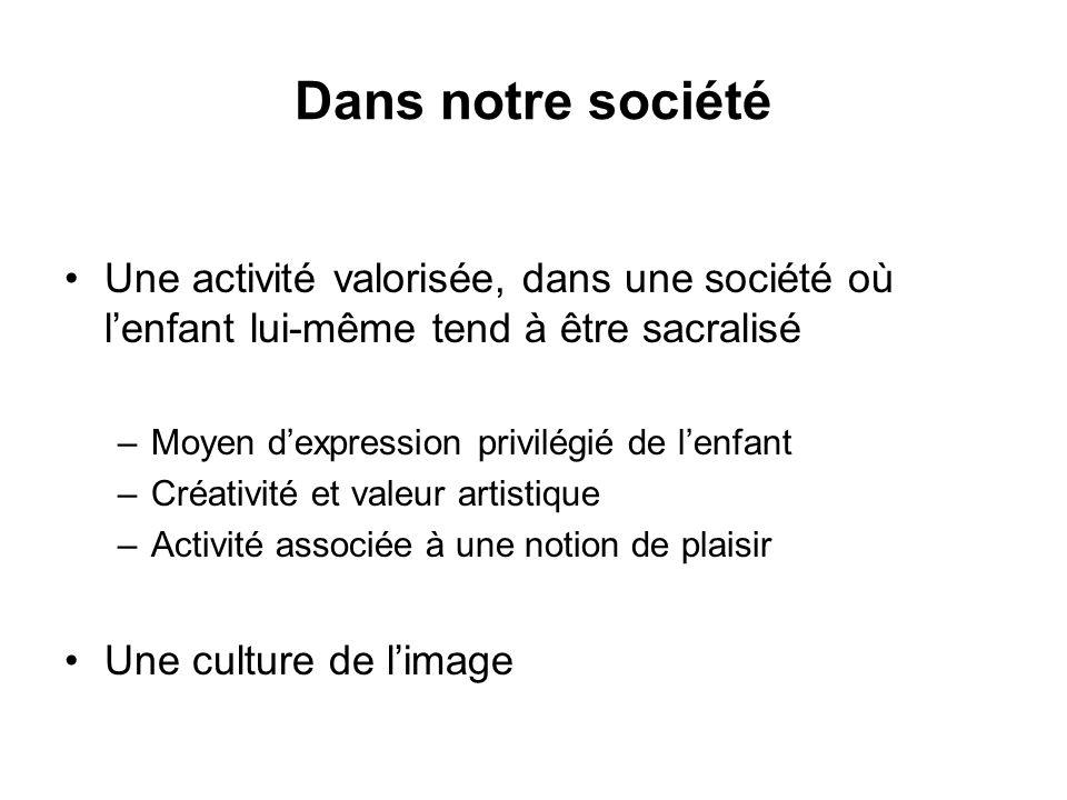 Dans notre société Une activité valorisée, dans une société où lenfant lui-même tend à être sacralisé –Moyen dexpression privilégié de lenfant –Créati