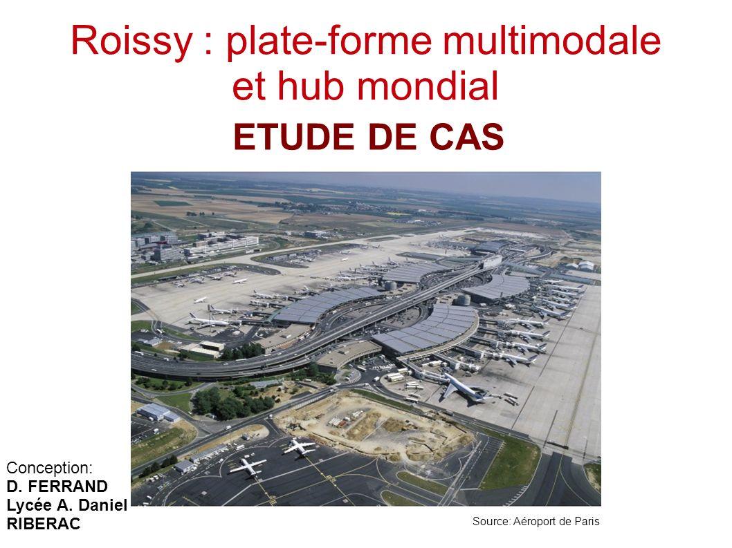 Roissy : plate-forme multimodale et hub mondial ETUDE DE CAS Source: Aéroport de Paris Conception: D. FERRAND Lycée A. Daniel RIBERAC