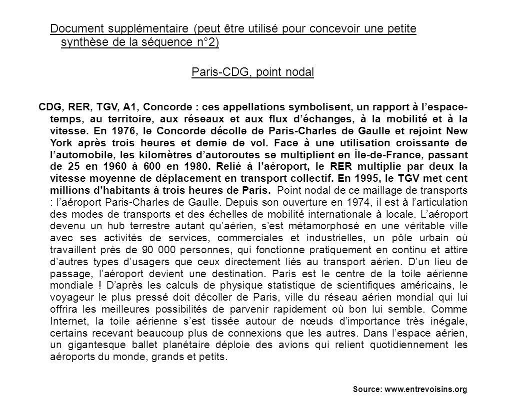 Document supplémentaire (peut être utilisé pour concevoir une petite synthèse de la séquence n°2) Paris-CDG, point nodal CDG, RER, TGV, A1, Concorde :