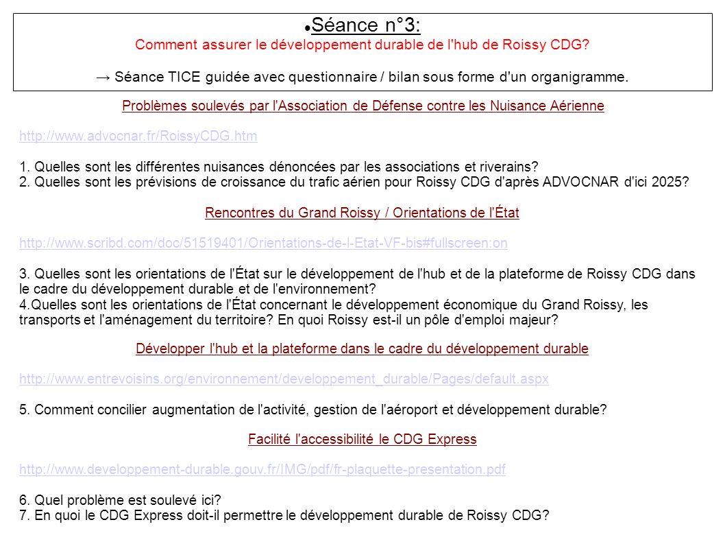 Séance n°3: Comment assurer le développement durable de l'hub de Roissy CDG? Séance TICE guidée avec questionnaire / bilan sous forme d'un organigramm