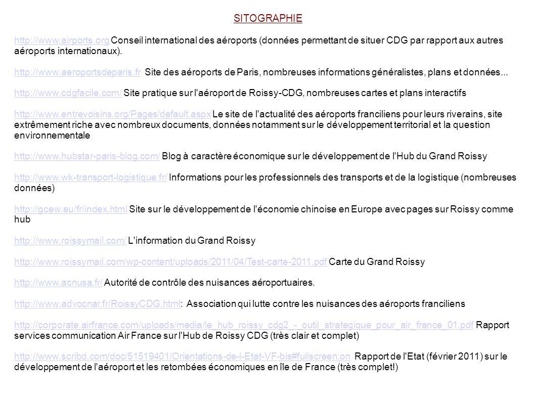 SITOGRAPHIE http://www.airports.orghttp://www.airports.org Conseil international des aéroports (données permettant de situer CDG par rapport aux autre