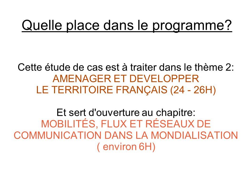 Quelle place dans le programme? Cette étude de cas est à traiter dans le thème 2: AMENAGER ET DEVELOPPER LE TERRITOIRE FRANÇAIS (24 - 26H) Et sert d'o