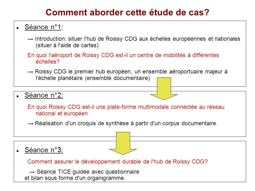 Comment aborder cette étude de cas? Séance n°1: Introduction: situer l'hub de Roissy CDG aux échelles européennes et nationales (situer à l'aide de ca