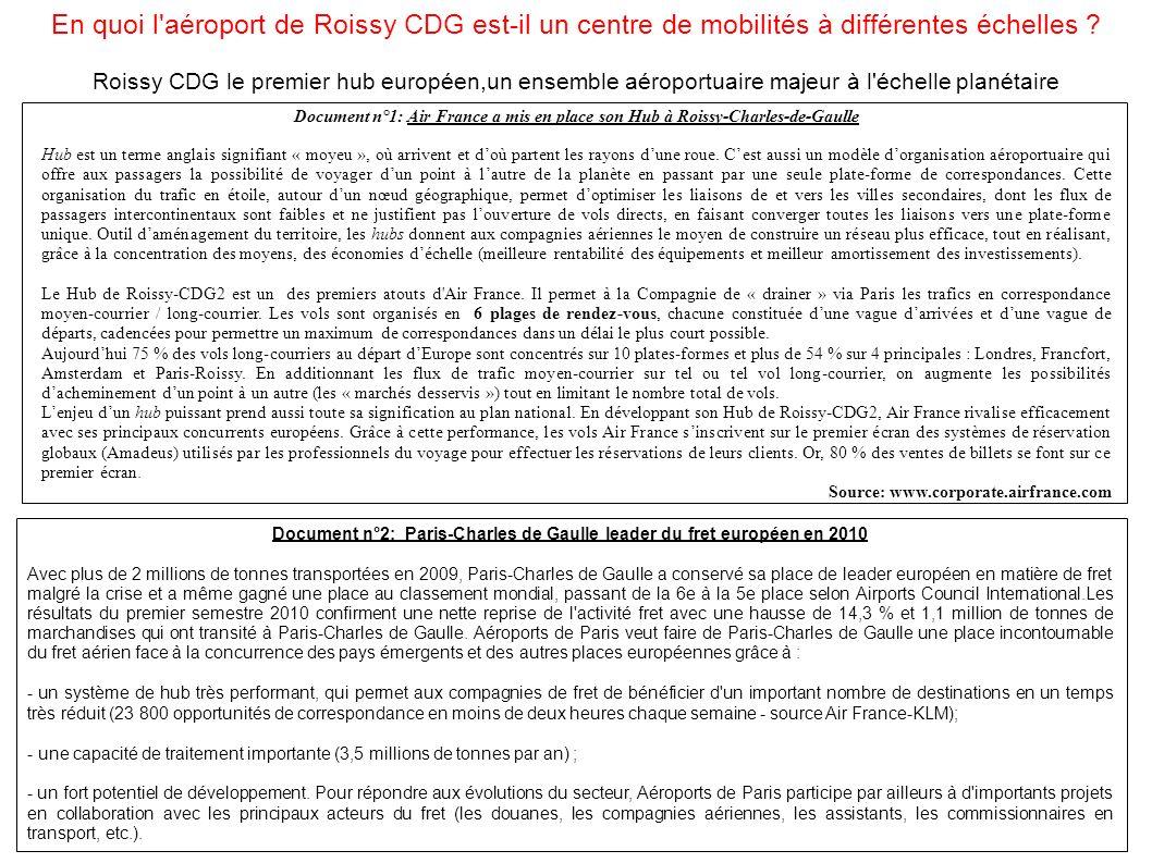 En quoi l'aéroport de Roissy CDG est-il un centre de mobilités à différentes échelles ? Roissy CDG le premier hub européen,un ensemble aéroportuaire m