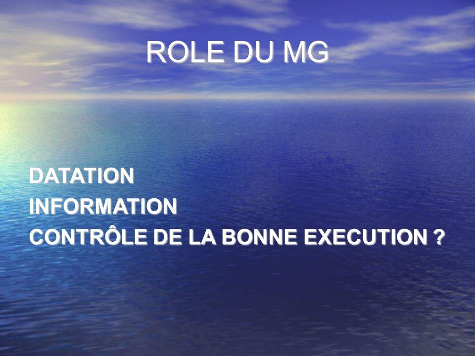 ROLE DU MG DATATIONINFORMATION CONTRÔLE DE LA BONNE EXECUTION ?