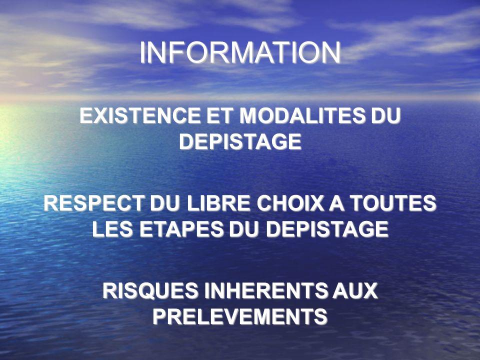 INFORMATION EXISTENCE ET MODALITES DU DEPISTAGE RESPECT DU LIBRE CHOIX A TOUTES LES ETAPES DU DEPISTAGE RISQUES INHERENTS AUX PRELEVEMENTS
