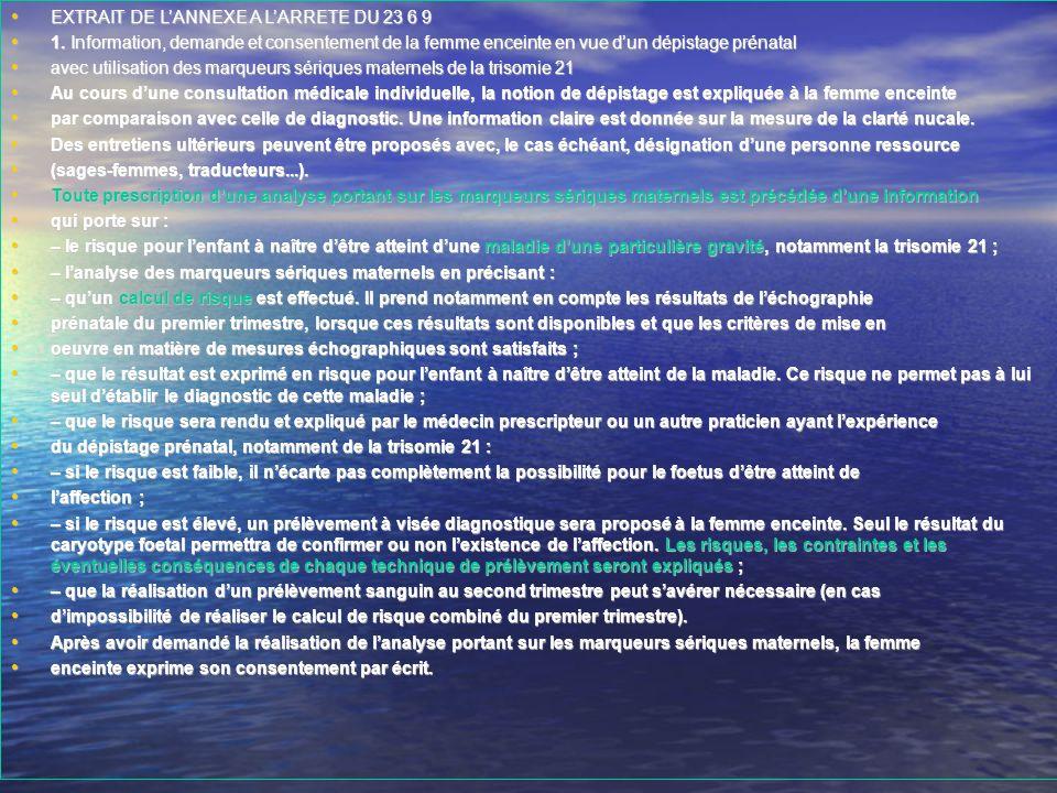 EXTRAIT DE LANNEXE A LARRETE DU 23 6 9 EXTRAIT DE LANNEXE A LARRETE DU 23 6 9 1. Information, demande et consentement de la femme enceinte en vue dun