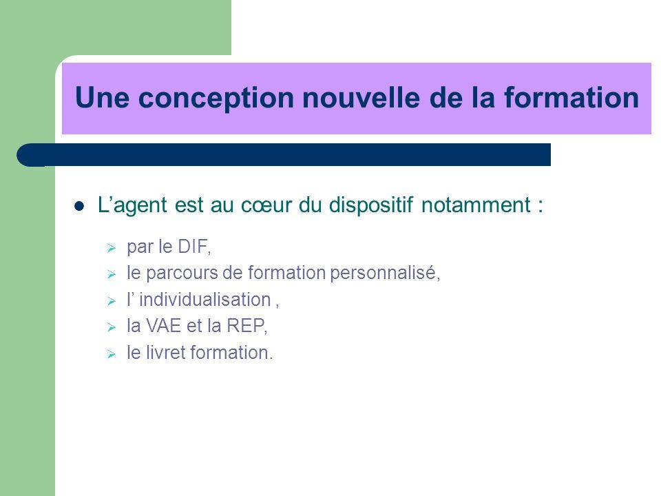 Une conception nouvelle de la formation Lagent est au cœur du dispositif notamment : par le DIF, le parcours de formation personnalisé, l individualis