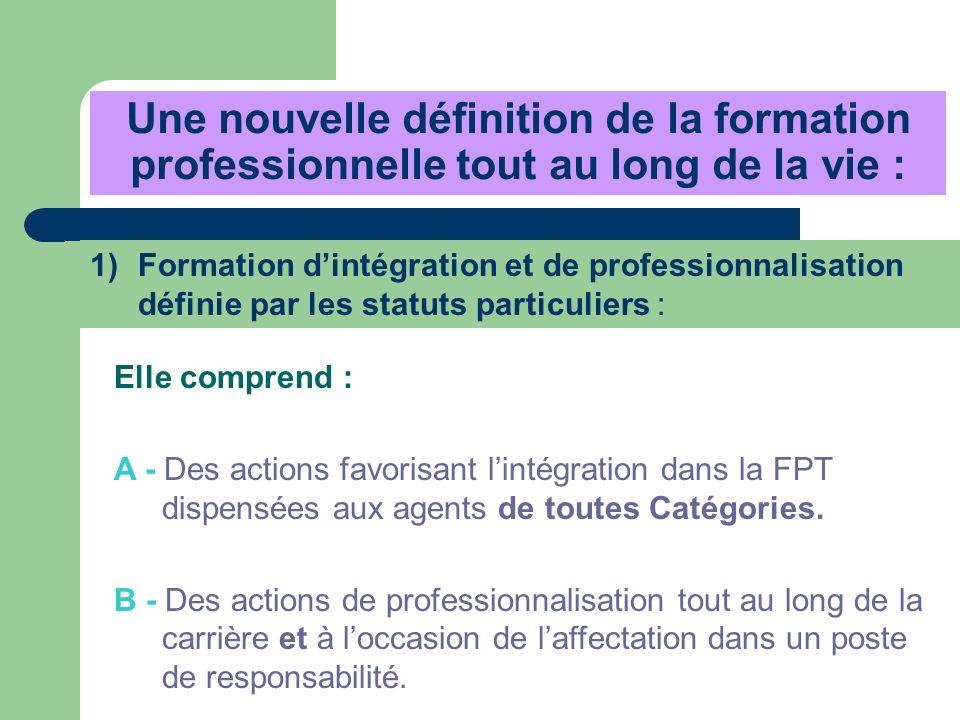 Une nouvelle définition de la formation professionnelle tout au long de la vie : Elle comprend : A - Des actions favorisant lintégration dans la FPT d