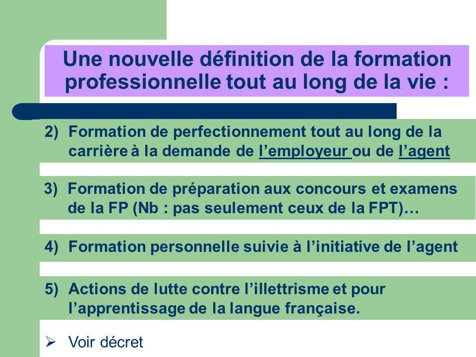 Une nouvelle définition de la formation professionnelle tout au long de la vie : 3)Formation de préparation aux concours et examens de la FP (Nb : pas