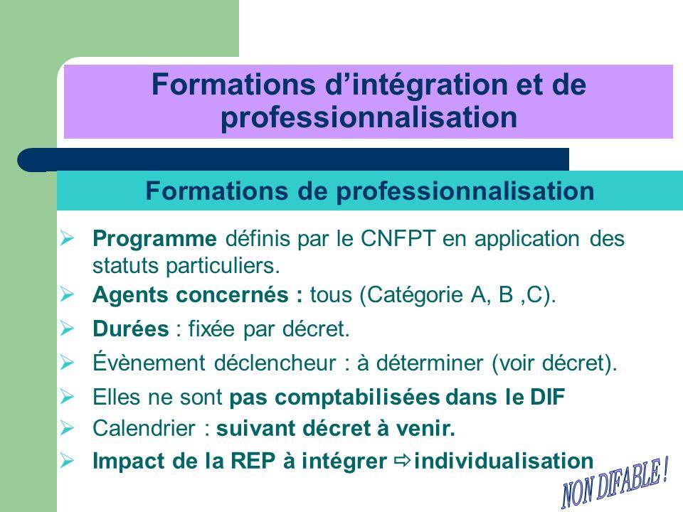 Formations dintégration et de professionnalisation Formations de professionnalisation Programme définis par le CNFPT en application des statuts partic
