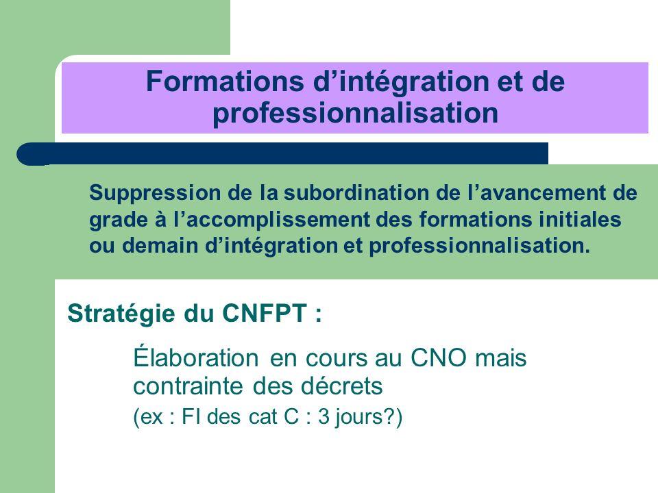 Formations dintégration et de professionnalisation Suppression de la subordination de lavancement de grade à laccomplissement des formations initiales