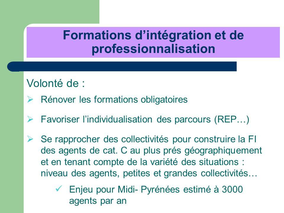 Formations dintégration et de professionnalisation Volonté de : Rénover les formations obligatoires Favoriser lindividualisation des parcours (REP…) S