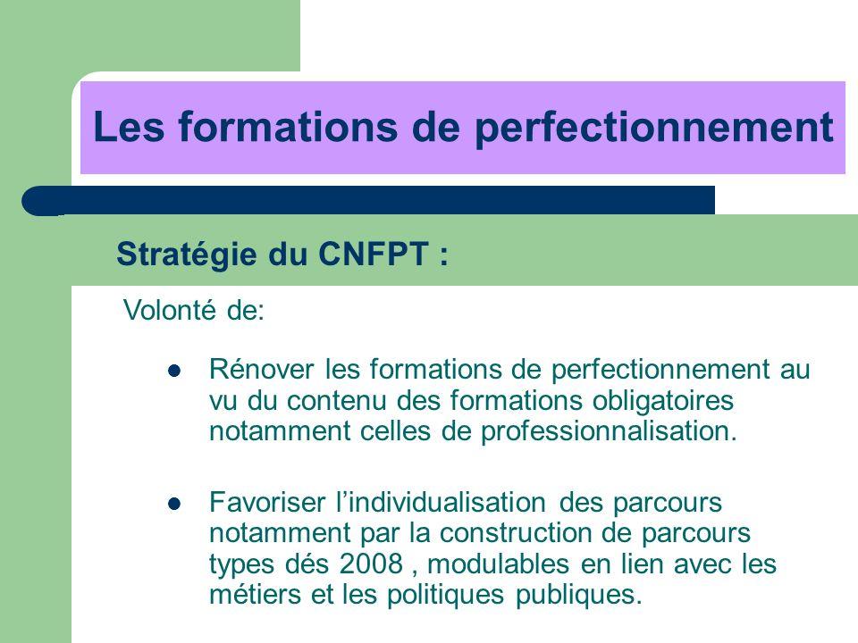 Les formations de perfectionnement Stratégie du CNFPT : Volonté de: Rénover les formations de perfectionnement au vu du contenu des formations obligat
