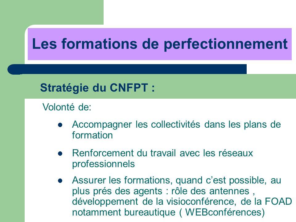 Les formations de perfectionnement Stratégie du CNFPT : Volonté de: Accompagner les collectivités dans les plans de formation Renforcement du travail