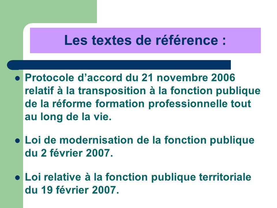 Les textes de référence : Protocole daccord du 21 novembre 2006 relatif à la transposition à la fonction publique de la réforme formation professionne