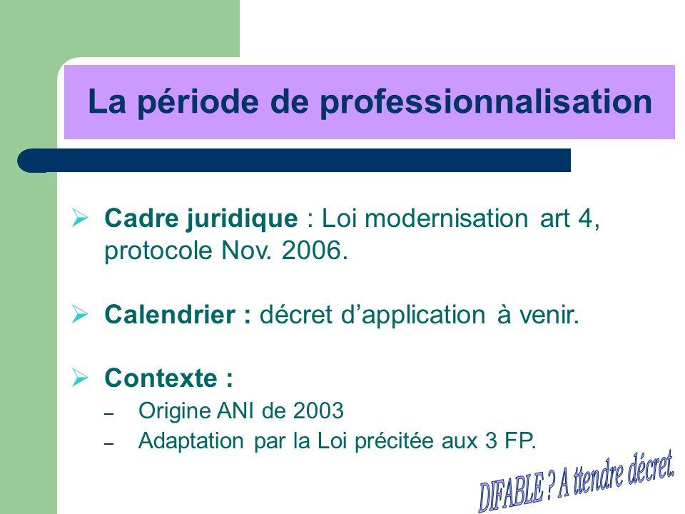 La période de professionnalisation Cadre juridique : Loi modernisation art 4, protocole Nov. 2006. Calendrier : décret dapplication à venir. Contexte