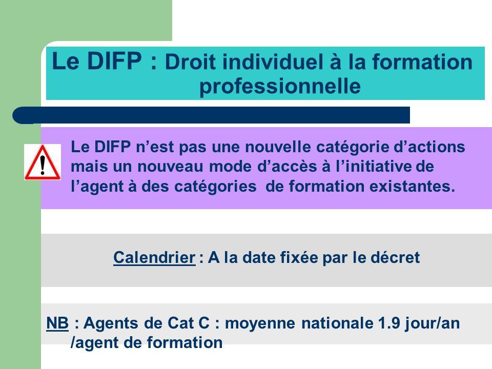 Le DIFP : Droit individuel à la formation professionnelle Le DIFP nest pas une nouvelle catégorie dactions mais un nouveau mode daccès à linitiative d