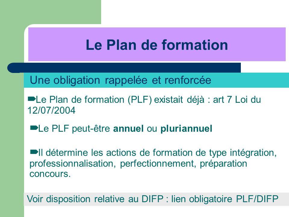 Une obligation rappelée et renforcée Le Plan de formation (PLF) existait déjà : art 7 Loi du 12/07/2004 Le PLF peut-être annuel ou pluriannuel Le Plan